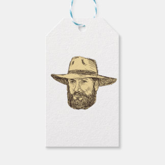 Bearded Cowboy Head Drawing Gift Tags