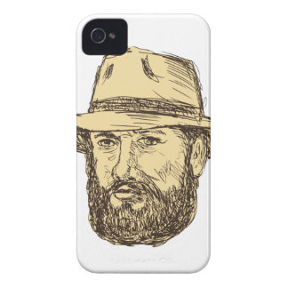 Bearded Cowboy Head Drawing iPhone 4 Case