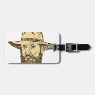 Bearded Cowboy Head Drawing Luggage Tag