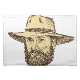 Bearded Cowboy Head Drawing Placemat