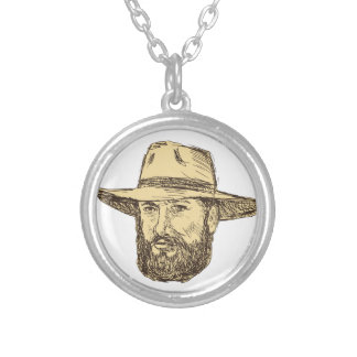 Bearded Cowboy Head Drawing Silver Plated Necklace