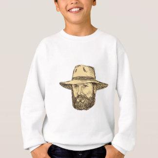 Bearded Cowboy Head Drawing Sweatshirt