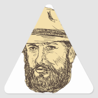 Bearded Cowboy Head Drawing Triangle Sticker