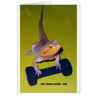 bearded dragon lifting weights card
