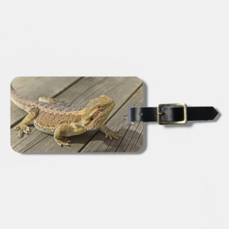 Bearded Dragon on some Wood Luggage Tag
