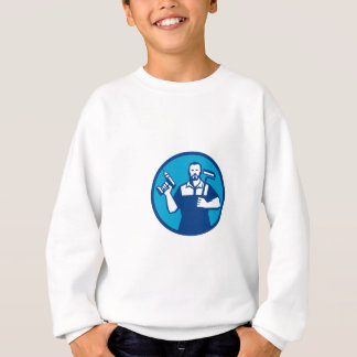 Bearded Handyman Cordless Drill Paintroller Circle Sweatshirt