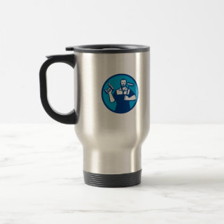 Bearded Handyman Cordless Drill Paintroller Circle Travel Mug