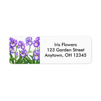 Bearded Iris Flowers Label Return Address Label