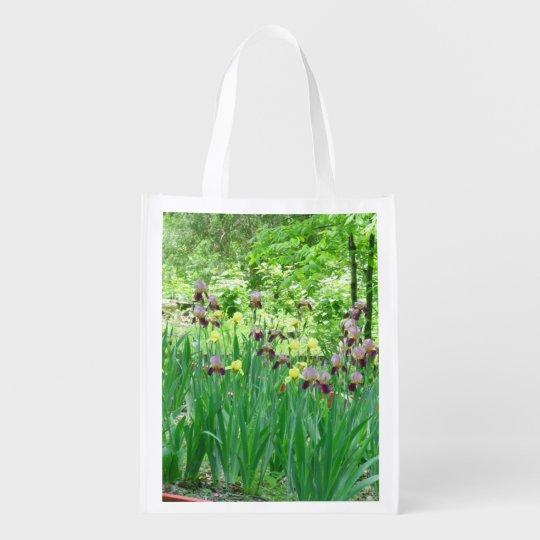Bearded Iris Garden Reusable Shopping Bag Market Tote