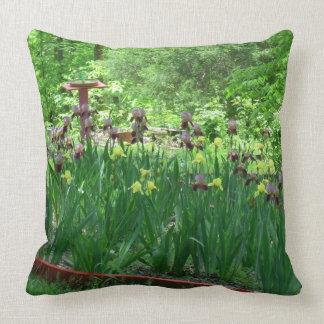 Bearded Iris Garden Throw Pillow