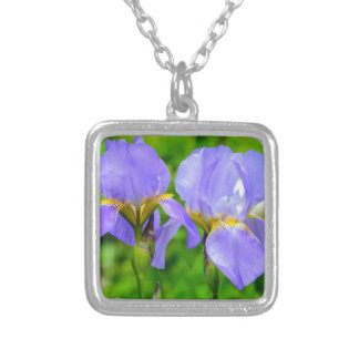 Bearded Iris Silver Plated Necklace