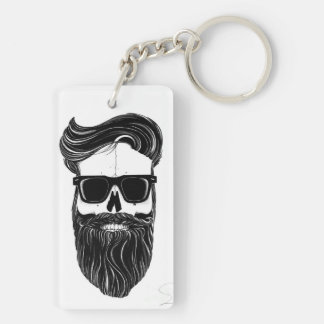 Bearded Key Holder Double-Sided Rectangular Acrylic Keychain