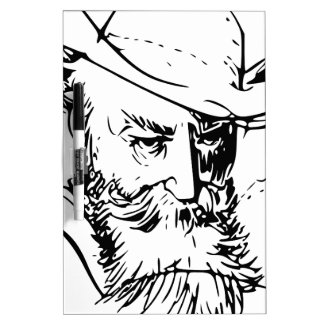 Bearded man dry erase whiteboards