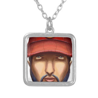 Bearded Man With a Red Cap Yellow Smiley Silver Plated Necklace