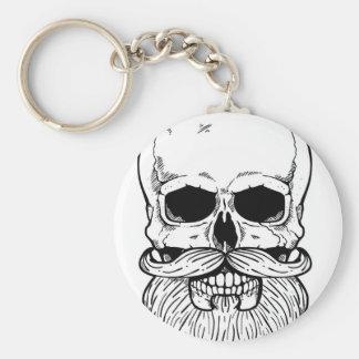 Bearded skull basic round button keychain