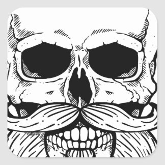 Bearded skull square sticker