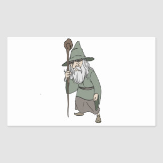 Bearded Wizard with Wizard's Staff Sticker