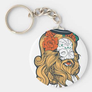 bearded women girl basic round button keychain
