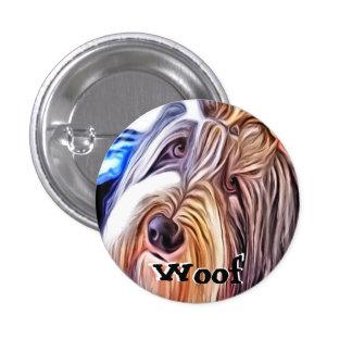 Beardie Dog Woof Badge