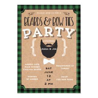 beards and bow ties baby shower invitation