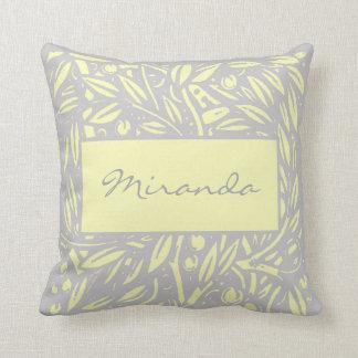 Beardsley Nouveau Garden Border Monogram Pillow