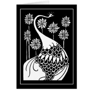 Beardsley Nouveau Peacock Note Card