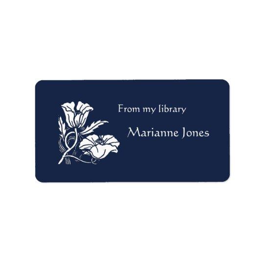 Beardsley Poppies Bookplate Label