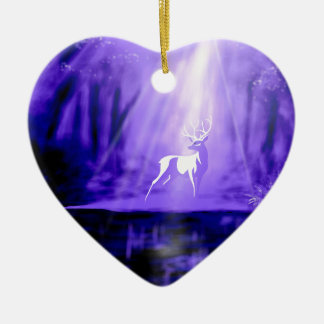 Bearer of Wishes - White Stag Ceramic Heart Ornament