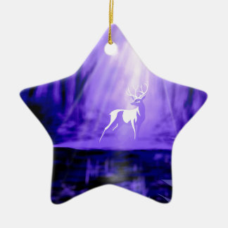 Bearer of Wishes - White Stag Ceramic Star Ornament