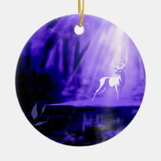 Bearer of Wishes - White Stag Round Ceramic Ornament