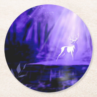 Bearer of Wishes - White Stag Round Paper Coaster