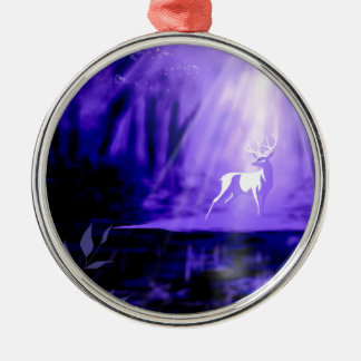 Bearer of Wishes - White Stag Silver-Colored Round Ornament