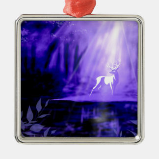 Bearer of Wishes - White Stag Silver-Colored Square Ornament