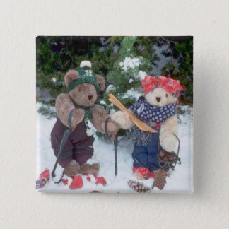 Bearly Skiers 2 Inch Square Button