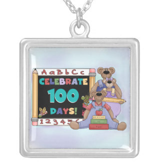 Bears 100 Days of School Square Pendant Necklace