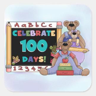 Bears 100 Days of School Square Sticker