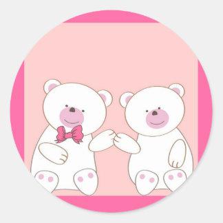 Bears couple round sticker