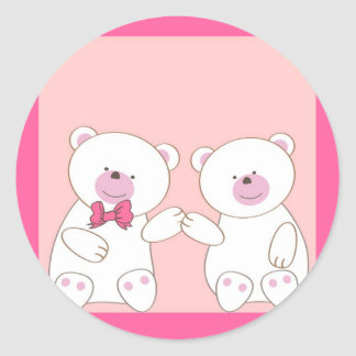 Bears couple round stickers