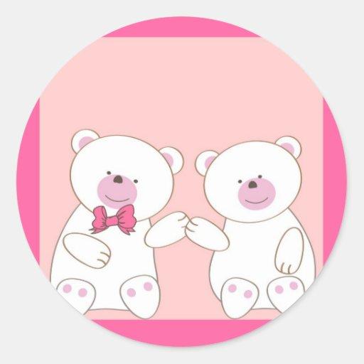 Bears couple round stickers