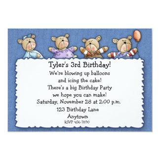 Bears Denim Birthday Invitation
