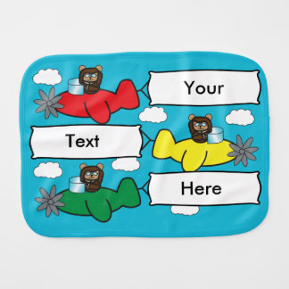 Bears Flying Planes Personalize Baby Burp Cloth