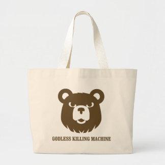 bears godless killing machines humor funny tshirt bags