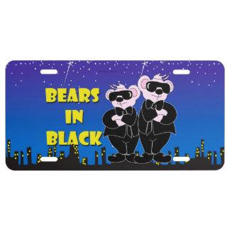 BEARS IN BALCK CARTOON Aluminum License Plate