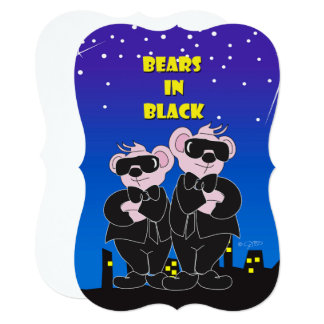 BEARS IN BLACK CARTOON 5x7 Invitation Bracket