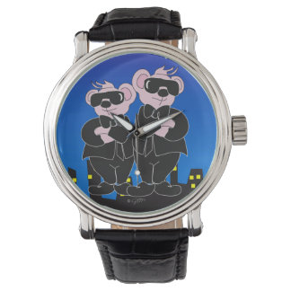 BEARS IN BLACK CARTOON Black Vintage Leather Watch
