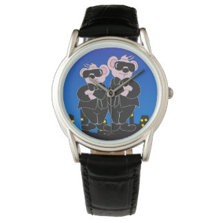 BEARS IN BLACK CARTOON Classic Black Leather Watch