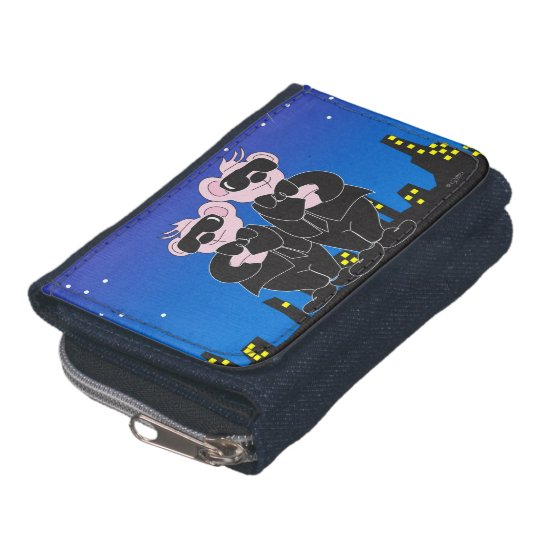BEARS IN BLACK CARTOON Denim Wallet with CoinPurse