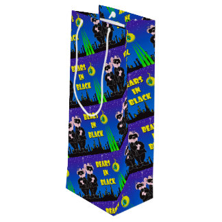 BEARS IN BLACK CARTOON Gift Bag -  WINE MATT