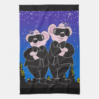 "Bears in Black Cartoon Kitchen Towel 16"" x 24"""