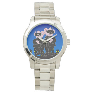 BEARS IN BLACK CARTOON Oversized Silver Bracelet Watch
